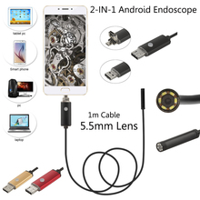 5.5mm Android USB Endoscope Camera 1/2/5/10M Flexible Snake Tube Inspection Smart Android Phone OTG USB Borescope Camera 6LED 2M