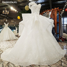 LS6510 luxury wedding dresses sweetheart off the shoulder appliques ball gown beading wedding dresses from china real photos(China)