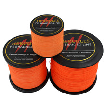 Hercules PE Braided Fishing Line Orange Multifilament Fishing Cord Strong 4 Strands 100M 300M 500M 1000M 1500M 2000M(China)