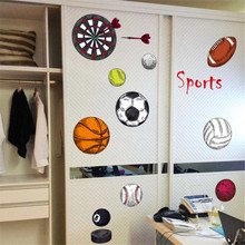 IDFIAF sports Basketball Rugby Football Darts PVC wall stickers for kids room living room DIY Wall Stickers Mural Art wallpaper