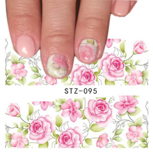 1 Sheets Beauty Pink Flower Design Tips Nail Art Water Transfer Stickers Decals Decorations Manicure Tools TRSTZ095(China)