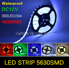 5M WATERPROOF LED Strip light SMD 5630 blue green cool warm white IP65 300 leds led tape roll flexible neon DC 12V cinta ribbon