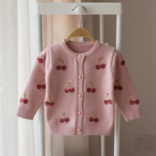 New 2017 spring and autumn children sweater baby girl cherry cardigan sweater baby fashion sweaters(China)