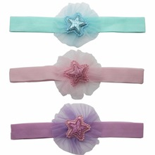 1 PCS glitter elastic headband cream mesh flower+five point star accessories hairbands for little girls Headwear