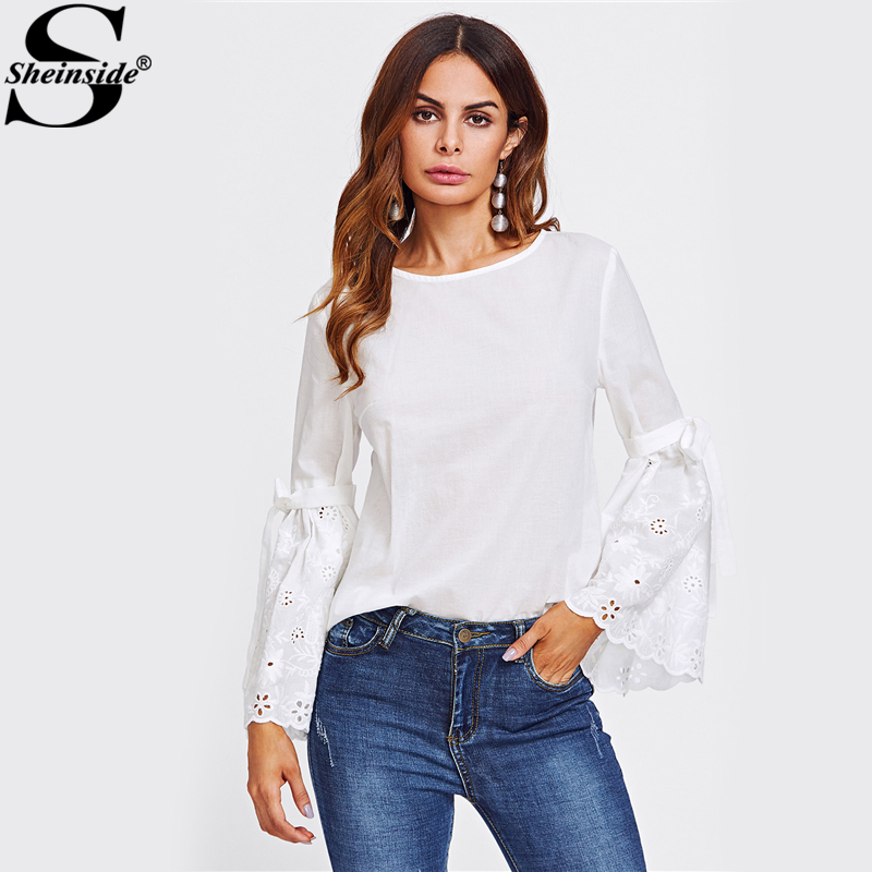 Sheinside Belted Eyelet Embroidered Flare Sleeve Blouse White Round Neck Plain Blouse 2017 Womens Casual Autumn Blouse