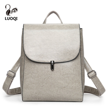 LUOQI Vintage Women Backpacks High Quality PU Leather Ladies Shoulder Bags Casual Designer Teenager And College Girl School Bags