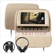 "2x9"" Beige Car Headrest DVD Player with 8 Bits & 32 Bits Games for toyota mazda vw/nissan/mitsubish"