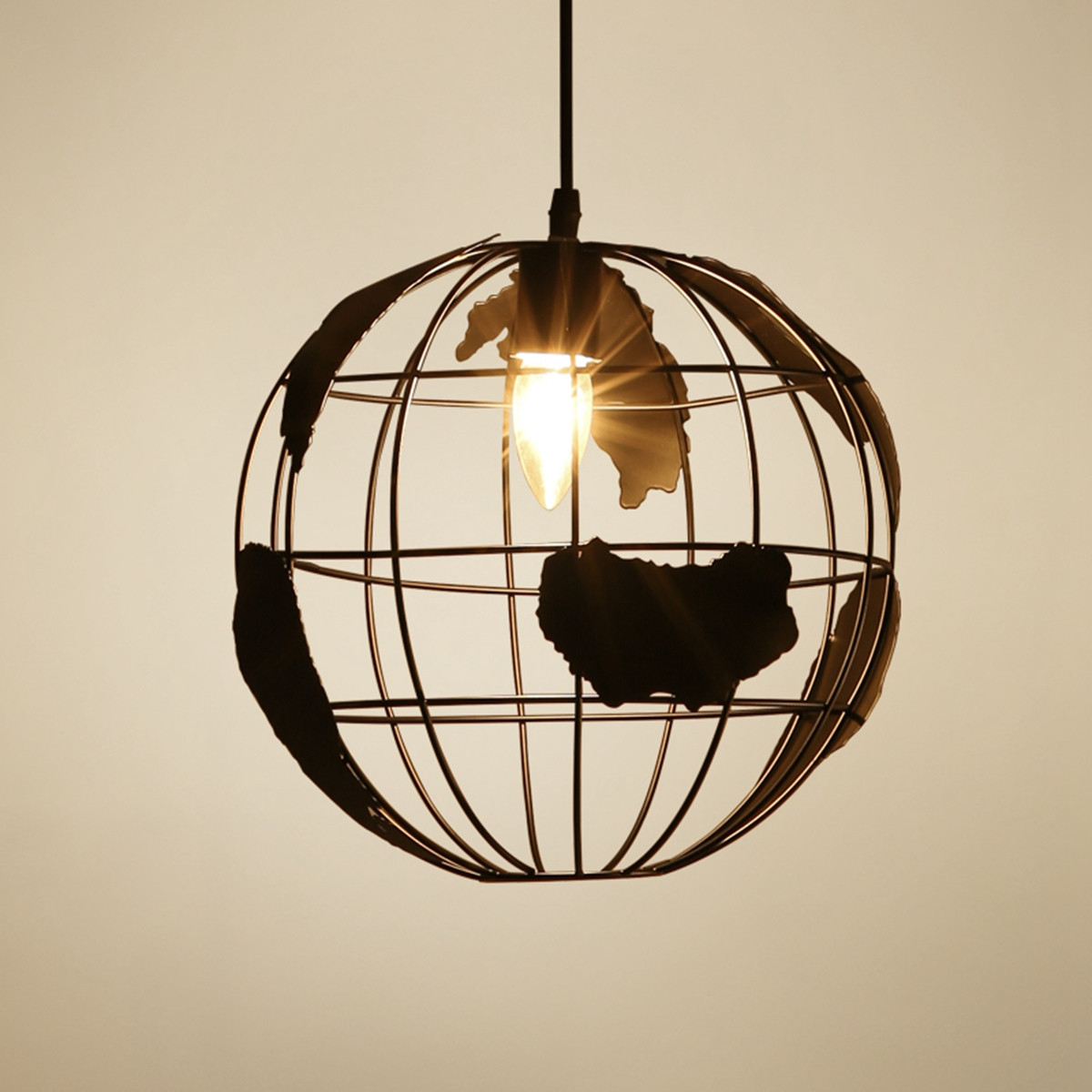 Vintage Globe Earth Shaped Ceiling Lamp E27 Bulb Hanging Pendant Light Plate Restaurant Coffee Shop Indoor Lighting Decor<br>
