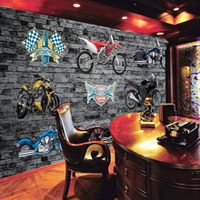 Free Shipping 3D custom retro motorcycle pattern wallpaper KTV cafe bar restaurant race track mural wallpaper