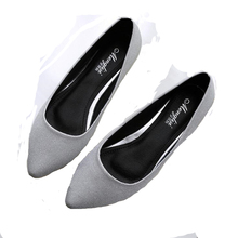 2016 New Genuine Leather Lining Women Leather Flats Canvas Silver Basic Pointy Toe Ballerina Ballet Flat Slip On Wedding Shoes
