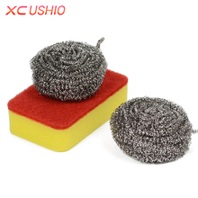 3pcs/set Household Kitchen Steel Wire Ball Cleaning Tools Magic Sponge Eraser Scouring Pad Tableware Dish Washing Sponge