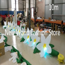(2PCS/LOT)Free shipping 8m length with 10pcs color-changing led lights inflatable flower chains for wedding decoration(10m)(China)