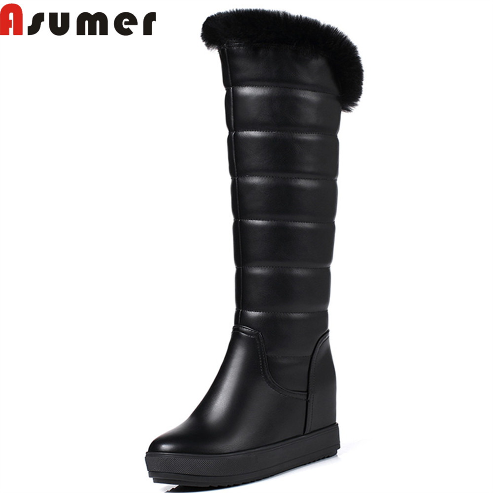 Asumer fashion winter new arrive women boots black white snow boots height increasing Keep warm comfortable knee high boots<br>