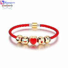SUSENSTONE Fashion Emoji Charm Bracelet 5 Bead Gold Bracelet(China)