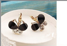 Korean fashion ladies temperament resin wings imitate  bow earrings free shipping