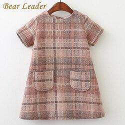 Bear leader/платье для девочек коллекция 2019 года, брендовая осенняя одежда для девочек детская одежда в клетку с круглым вырезом и карманами плат...