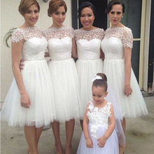 Cute Short Ivory Bridesmaid Dresses With Sleeves Tulle Appliques Knee Length Bridesmaid Dress Beautiful Bridesmaid Gowns B54