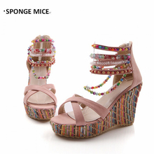 Brand New Women's Shoes Bohemian High Heel Wedge Sandals Fashion Color Beaded Chain Thick Crust Muffin Sandals Shoes Pumps #1341(China)