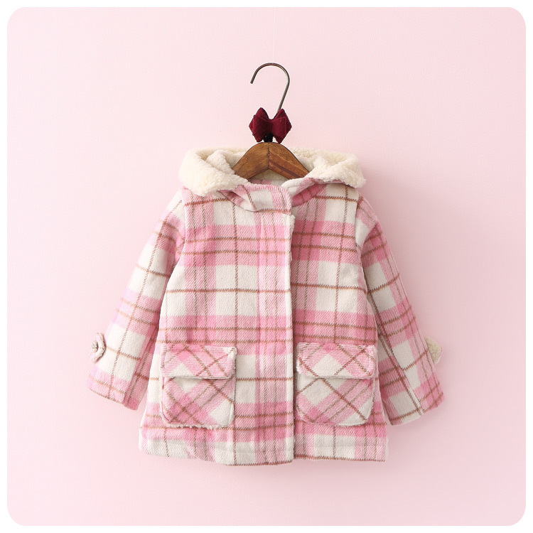 2016 Korean Autumn  Winter New Childrens Garment Girl Baby Will Lattice Even Hat Zipper Jacket Loose Coat Cardigan Smock<br>