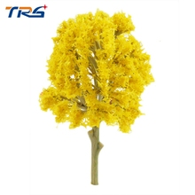 Teraysun 66mm-86mm Yellow Color Model Tree Flower Trees Model Train Layout Garden Scenery landscape(China)
