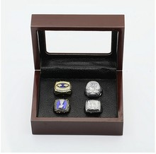 Wholesale Promotion Wooden Boxes With 1986/1990/2007/2010 New York Giants Replica Super Bowl Championship Ring 4 Years Sets(China)