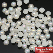 Free Shipping 4mm Acrylic Beads Pearl Imitation Half Round Flatback Bead Pick Color For Jewelry Making(China)
