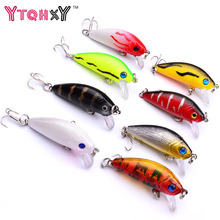 YTQHXY 8Pcs/lot Crankbait Fishing Lures 5cm 3.5g Plastic Hard Crank Bait Artificial Fishing lure Set YE-204DBZY(China)