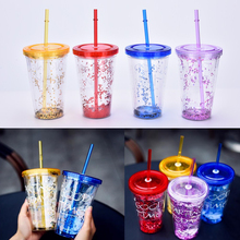 Fashion BlingBling Summer Plastic Straw Cup 450ml Good Time Double Plastic Cup With A Straw Water Bottle Copo Com Canudo