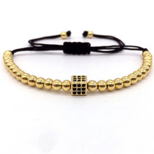 NAIQUBE 2017 Hot Brand Trendy Black CZ Cube Dice Charm Braided Macrame Bracelets & Bangles Jewelry For Men Gift(China)