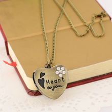 Cindiry Brand Sweet Heart Vintage Retro Chain Pocket Watch Crystal Pendant Necklace Lady Girl Gift P30