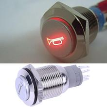 Universal Car Push Button 16mm 12V Red LED Momentary Push Button Metal Switch Car Boat Speakers Horn High Head Car Interior Part