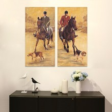 2 Pcs/Set No Framed Horses knight Animals Puppy Dogs Decoration Wall Art Pictures Canvas Paintings For Living Room Home Decor(China)