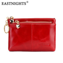 EASTNIGHTS high quality genuine leather women mini wallet oil wax leather coin purse wallet men coin credit card holder 2087