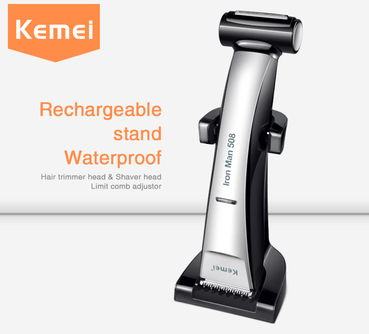 Kemei508 Professional Shaving Head Hair Clipper 2 in 1 Adjustable Rechargeable Hair Trimmer Shaver Razor 100-240v Fully Washable<br>