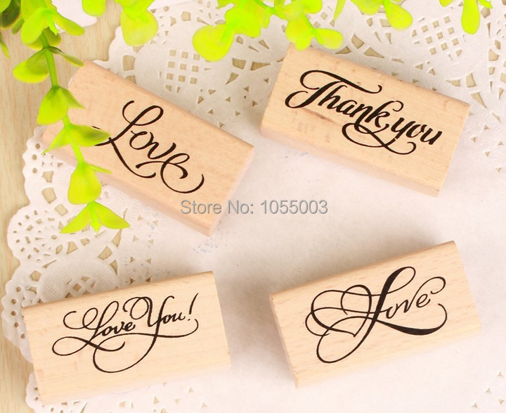 8 styles DIY Scrapbooking Vintage Wooden THANK YOU / LOVE YOU Greeting Stamps Sealing Stamp Floral  Decoration Stamp<br><br>Aliexpress