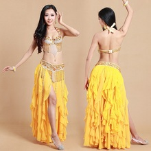Production!! Arabic Beaded Sequins 3 PCS Bra +Belt +Maxi Skirt S/M/L Belly Dance Costume 2016 Vestidos Indian Dancing Wear