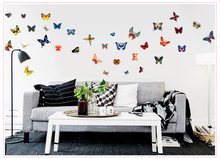 A Set of 61 Stickers Wholesale 1 Butterfly PVC Removable Suitcase Stickers Paper Painting Water Proof Refrigerator Wall Art