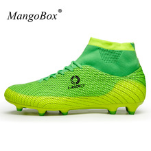 Soccer Football Boots Non-Slip High Top Football Cleats Blue/Orange Sneaker Soccer Men Shoes Shockproof Spikes Shoes Sport(China)
