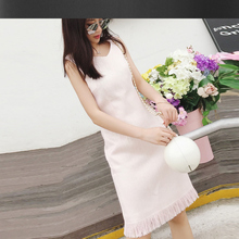 Pink sleeveless tweed dress tassel v-neck spring / autumn women's dress brushed fringed dress ladies bottoming dress