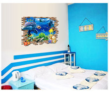 Creative 3D Decals The undersea world scenery lifelike deep sea animals Household Adornment Can Remove The Wall Stickers vinyl