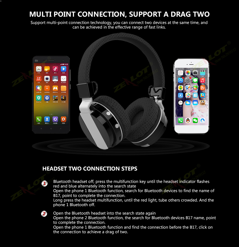 Original ZEALOT B17 Wireless Bluetooth 4.0 Headphone With Microphone Headset Foldable Size With FM Radio TF Card Slot