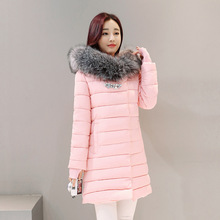 2017New Winter Fashion Cotton Coat Female Slim Warm Hooded Parkas Female Overcoat High Quality Glooves Women Cottonpadded Jacket