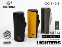 COHIBA boutique wholesale Cigar three jet flam torch straight metal lighter Cigar lighters Accessories manufacturers selling