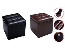 Cube Ottoman Pouffe Storage Box Lounge Seat Footstools with Hinge Top New HW47908BK