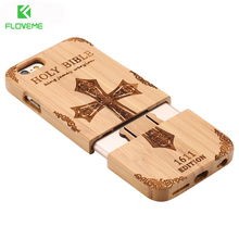 FLOVEME Wooden Case For iPhone 6 6S Plus 5S 5 SE 3D Wood Bamboo Wolf Cross Cover For Samsung Galaxy S6 S7 Edge Phone Cases Bags(China)