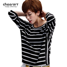 Cheerart Summer Black And White Striped T-Shirt Women High Street Fashion Casual Loose Top Tee Shirt Femme Stress Clothing