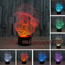 free shipping new 2017 bulb Super infantile Mario 3D Lamp LED Night Light Acrylic Colorful Atmosphere Novelty Gifts Present Lamp