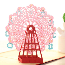 Pop-Up 3D Ferris Wheel Valentine Cards May Love Goes Round And Round Paper craft Festivals Invitations Cards 2016 Hot Sales