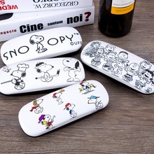 High Quality Kawaii Snoopie Cartoon Dogs Mini Pen Bag Leather Glasses Case 163*60*38MM Kids Christmas gifts
