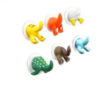 6Pcs/set Kawaii Creative cartoon animal tail hook trace rubber sucker key hanger holder hook bathroom wall hooks